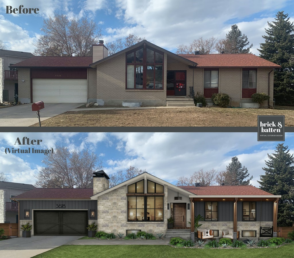 Before and after of a mountain style rustic modern home with added natural stone, columns, and an updated dark gray garage door