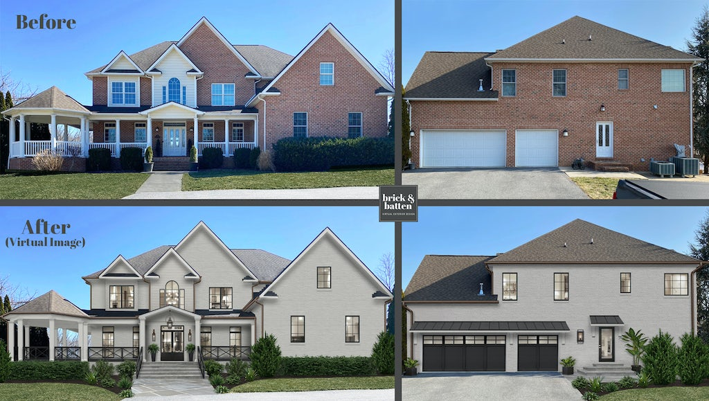 Two story traditional home with three-stall black garage door with top section windows