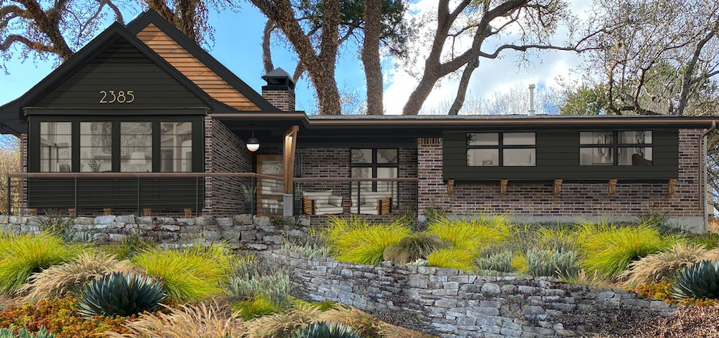 Virtual exterior design of a modern rustic ranch with brick, natural wood, and Urbane Bronze siding