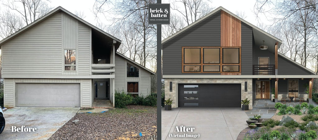 Contemporary rustic home with a modern front-loading garage