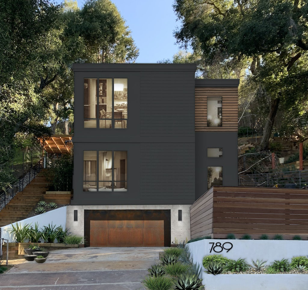 contemporary modern 3 story home in greenblack