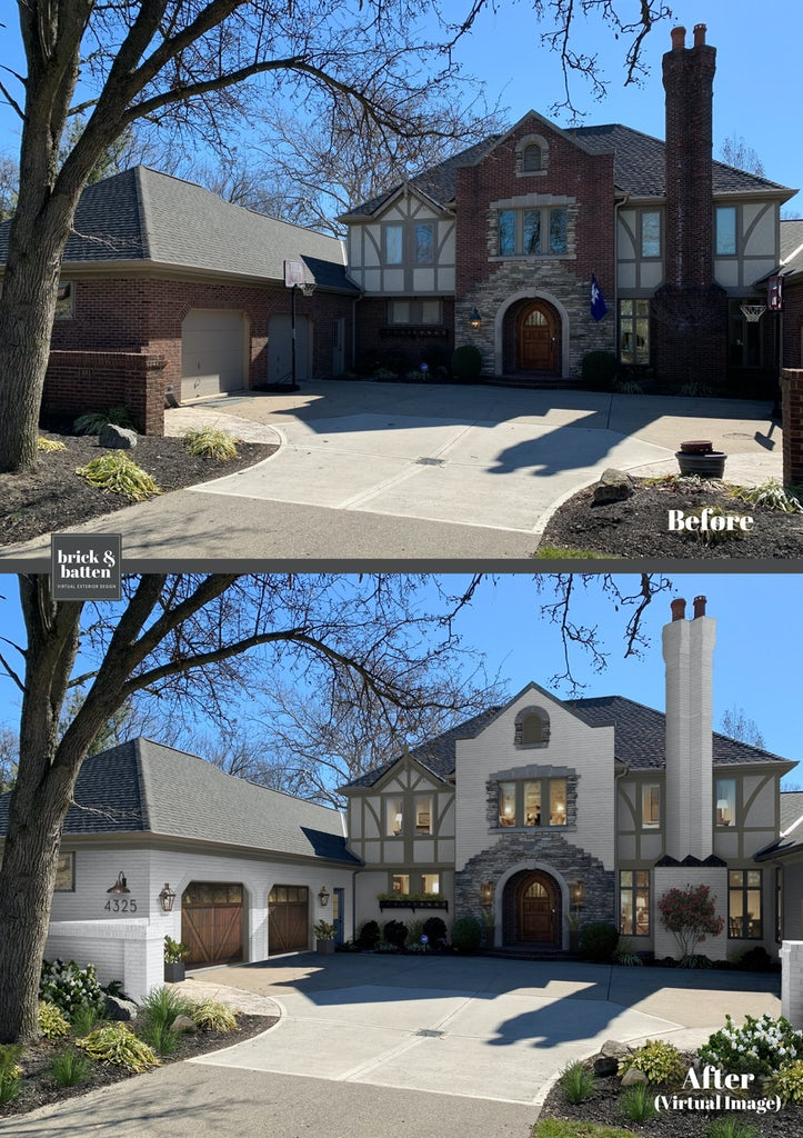 large L shaped tudor home with front chimney, stone entry way and brick painted dover white