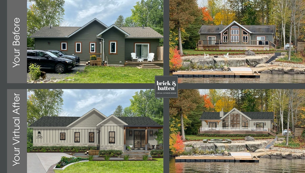 Before and after of two different homes using Jamies Hardie Cobble Stone color. The first is a single-story home with a spacious front yard and driveway, and a stone walkway that leads up to a covered entryway. The second photo is a contemporary lakefront home with a dock and sitting area in front of the contemporary-style home that has large oversized windows in front of a rural setting with plentiful trees changing color for autumn.
