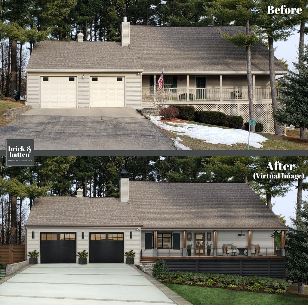 Transitional home update with a dark garage door with top section windows