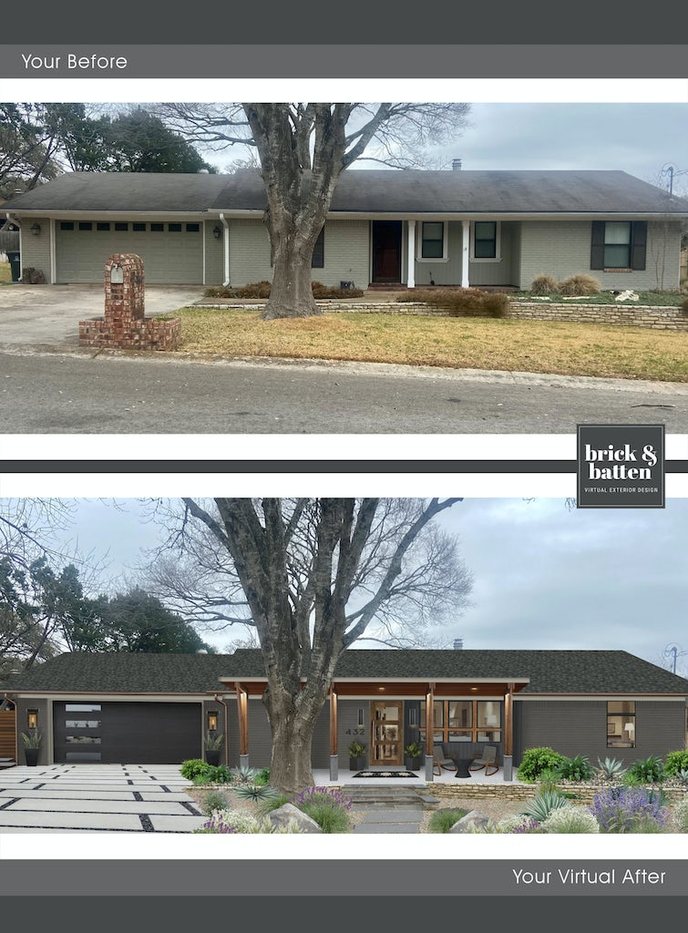 rustic modern ranch with large rectangular driveway pavers