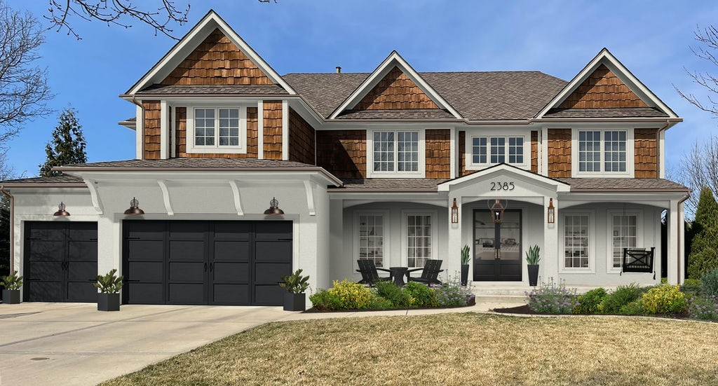 Virtual exterior design of a transitional farmhouse home with the garage painted in Tricorn Black