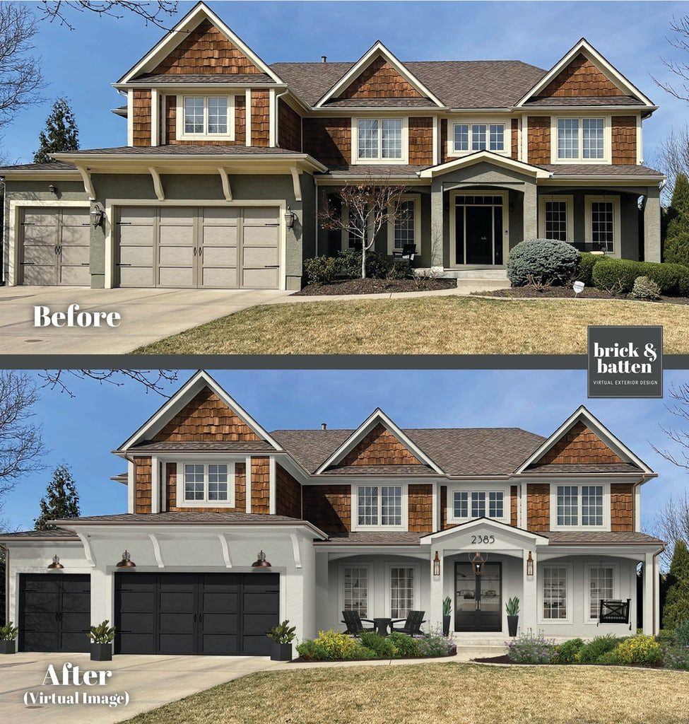 traditional modern farmhouse with wood shake siding on upper half and white stucco on lower half