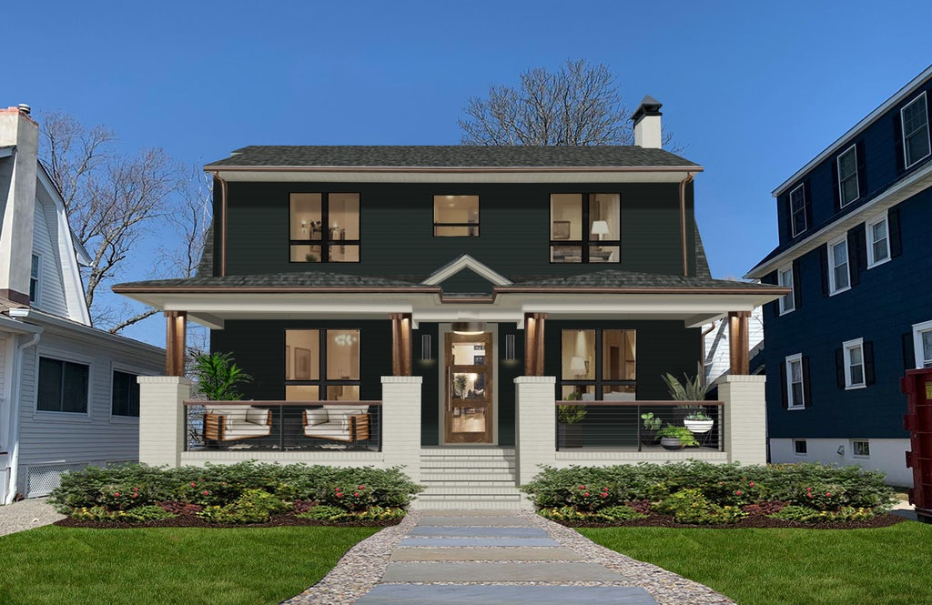 transitional craftsman with columns in black forest green paint