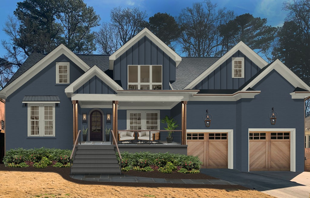 Virtual exterior design of a transitional Craftsman-style home with brick and siding painted in Hale Navy