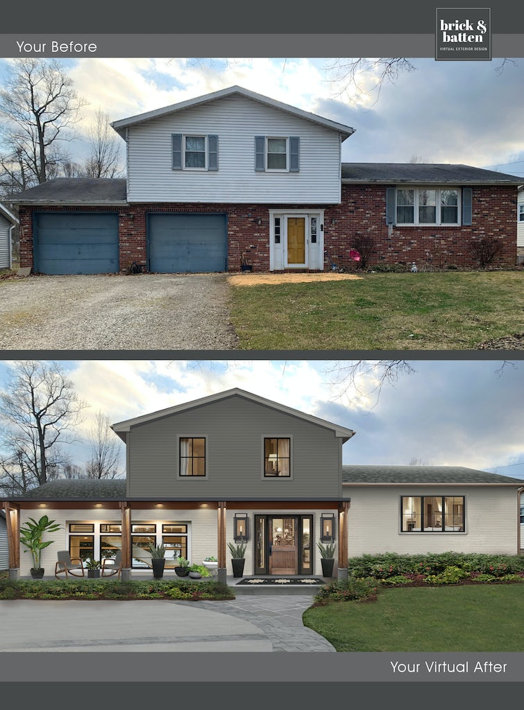traditional home with smooth concrete driveway and stone walkway