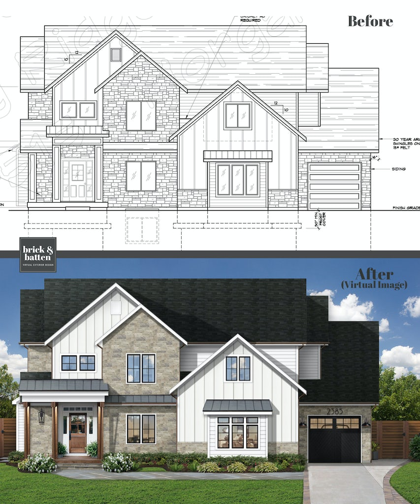 Before and after of a newly-constructed home featuring the original blueprint as the before photo. The property's after photo uses James Hardie siding in the color Arctic White, complemented by natural stone. In the after, the home has a driveway and flat, grassy front yard with green grass.