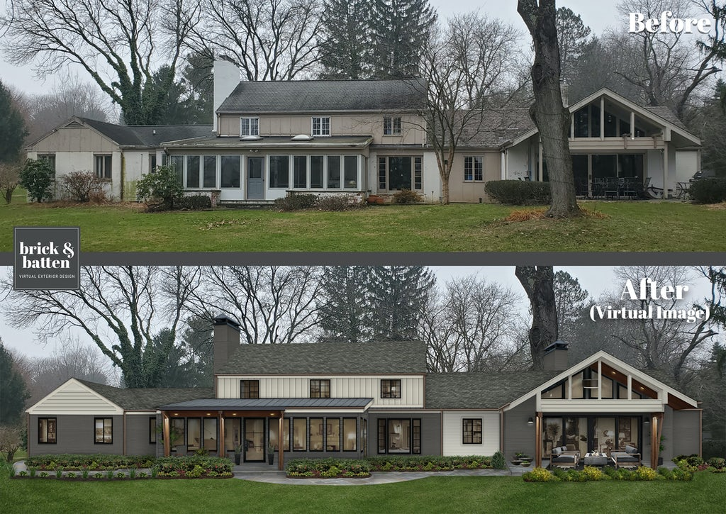 before and after of a large mid century ranch painted in benjamin moore iron mountain