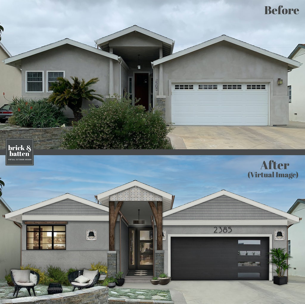 Before and after of a modern ranch-style home with an updated front porch awning with columns, new garage door, and the main section painted in James Hardie Hardie Board siding color Pearl Gray