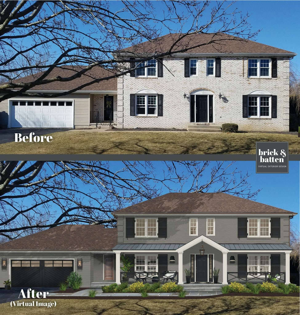 transitional modern home with gray siding and brick with black shutters