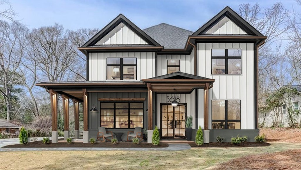 Virtual exterior design of a farmhouse with a large front porch