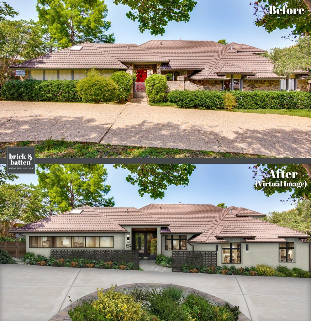 ranch home with earth tones and wraparound driveway