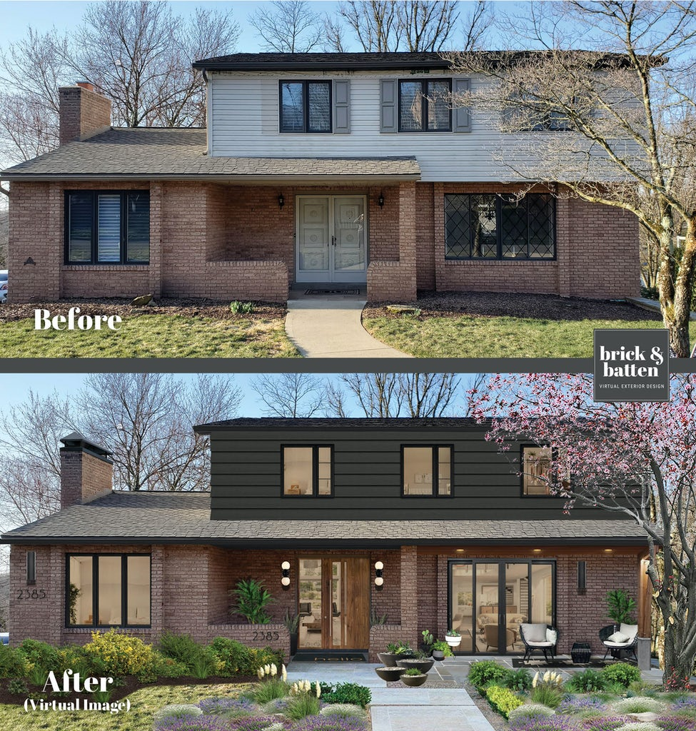 Before and after of a two-story home with a stone walkway and landscaping in front that leads to the first floor, which is composed of brick. With large glass windows and a sliding door in front, the home has a covered entrance. The second story is a James Hardie Iron Gray, and features three windows.