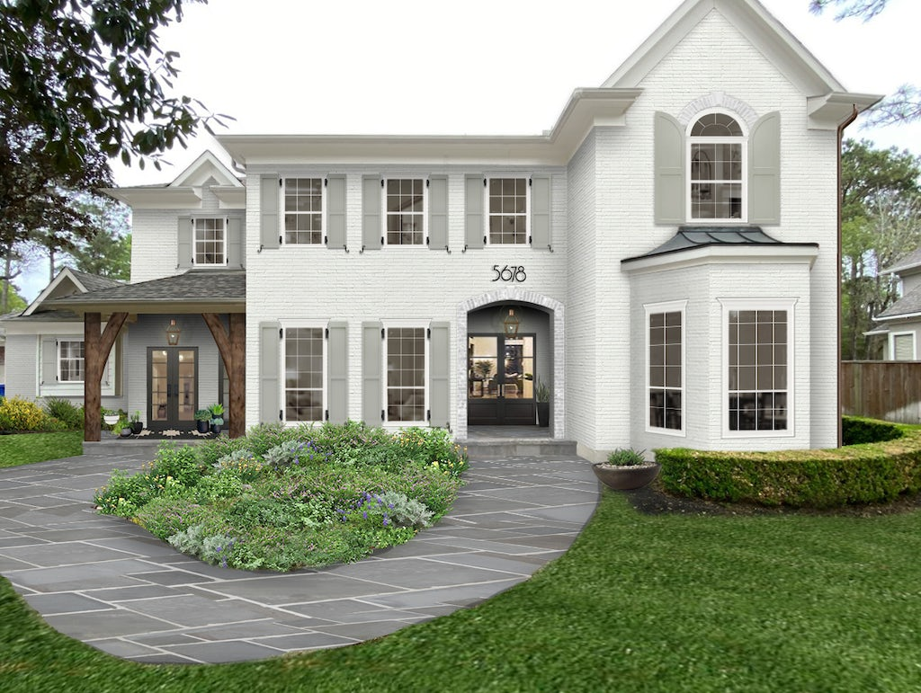 large white home with gray shutters and bay window