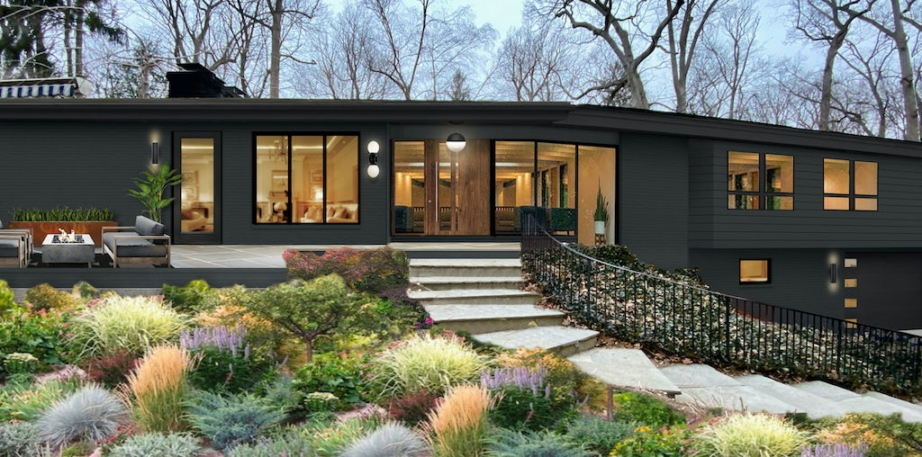 modern contemporary ranch with large windows painted black