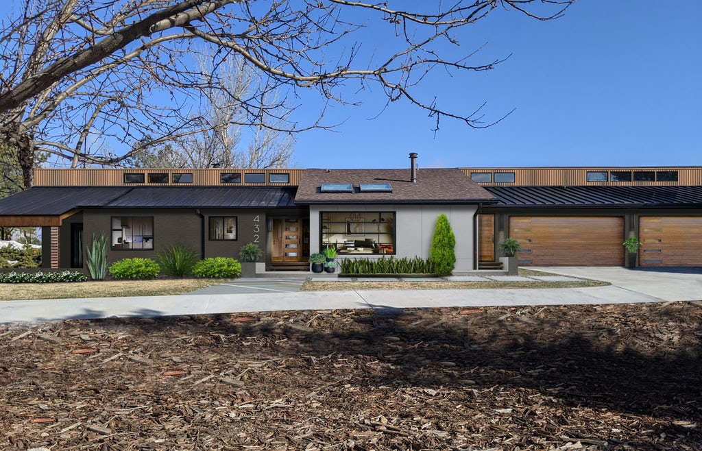 contemporary ranch painted in black fox with wood accents and large picture windows