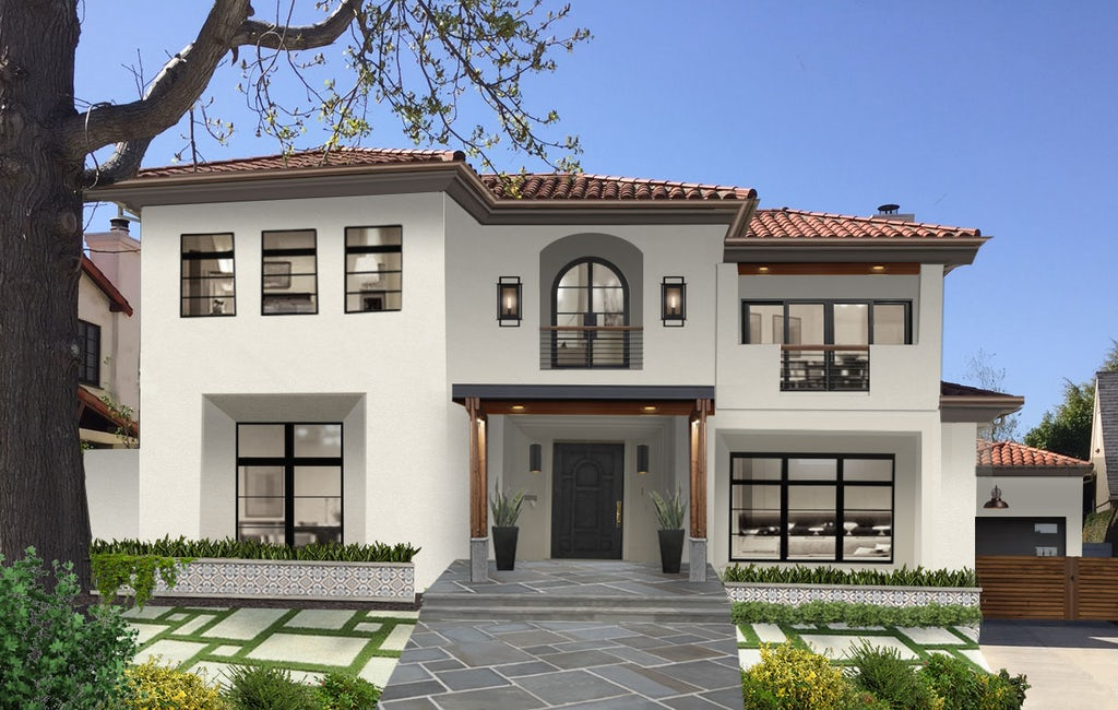Spanish modern home with a wide stone walkway with porcelain wall tile accents