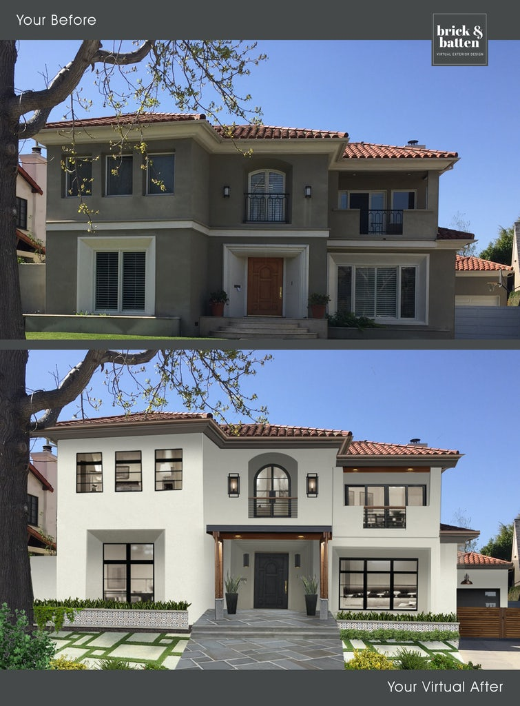 before and after of a two story spanish style home with tile roof and arched center window