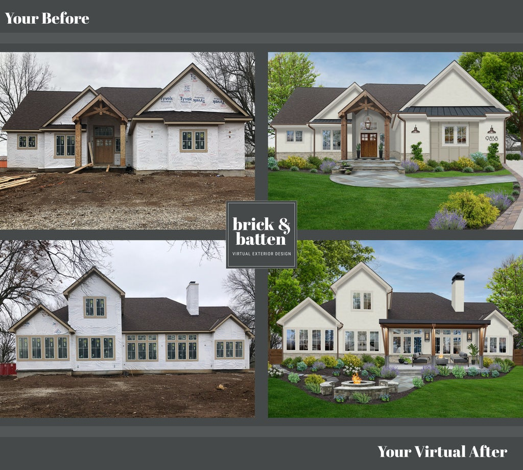 Before and after of a home's exterior. Before = under construction home. After = a modern farmhouse style ranch painted in Shoji White