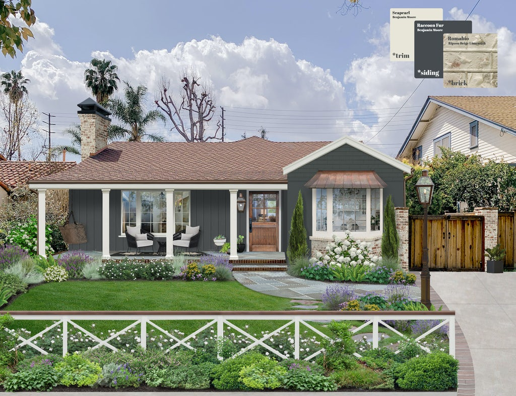 Virtual exterior design of a charming ranch with siding in Raccoon Fur and trim in Seapearl, both by Benjamin Moore, and a Romabio limewash on the brick