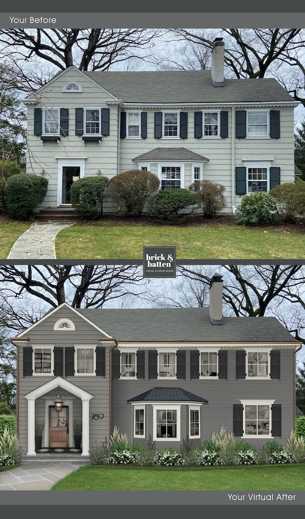 traditional home with dark gray siding, white trim, and black shutters