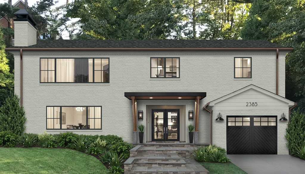 large light gray home with staggered stone stairs