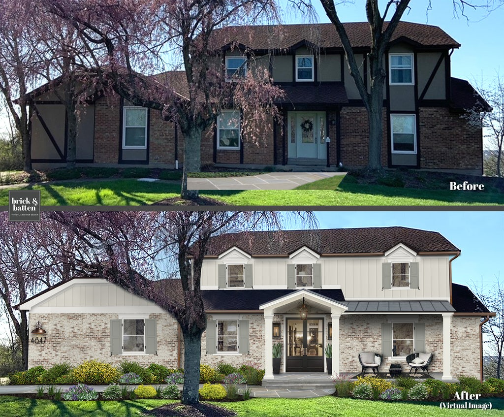 Two story transitional home with limewash brick and new porch before and after