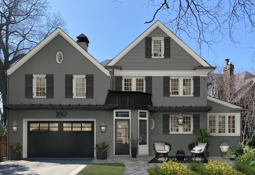two story traditional home painted in kendall charcoal