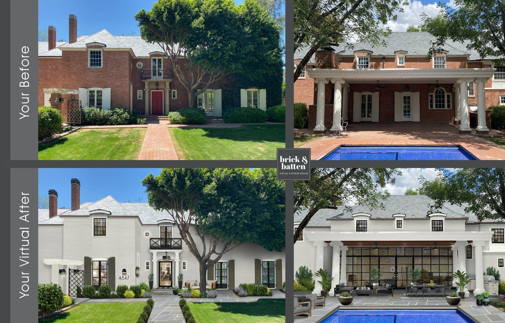 before and after of the front and back of a spanish style brick home with a large lawn and pool