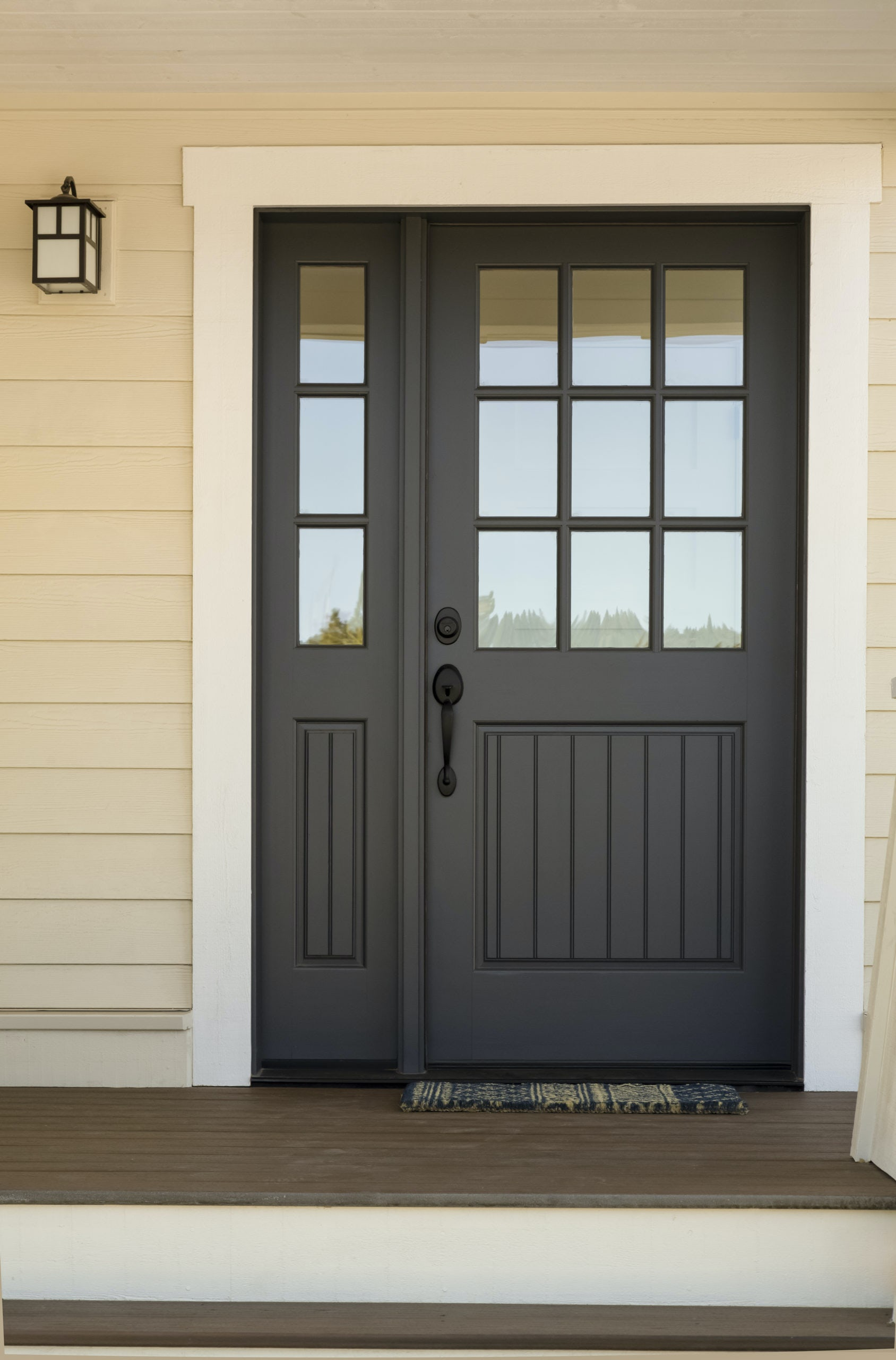 Front Door Ideas With Sidelights And Transoms Brick Batten