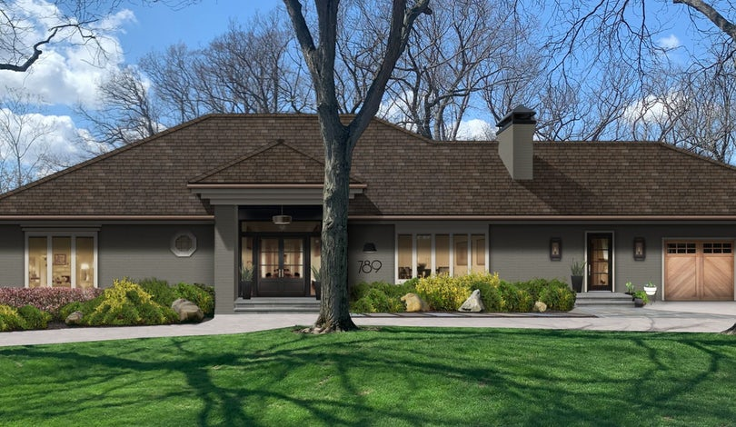 Virtual exterior design of a beautiful home using Kendall Charcoal