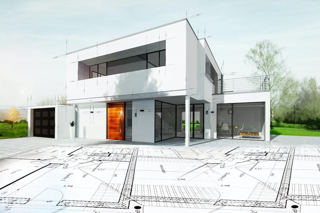 A blueprint of a custom home by renovation headquarters