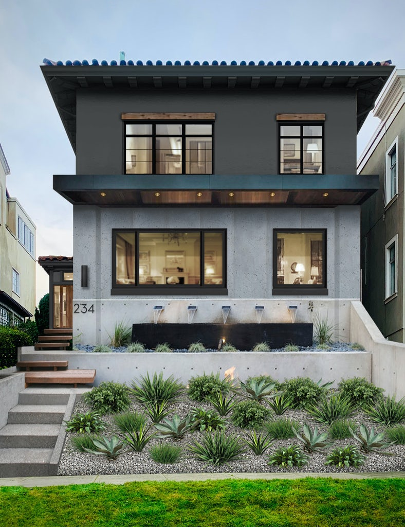 modern two story beach home painted black