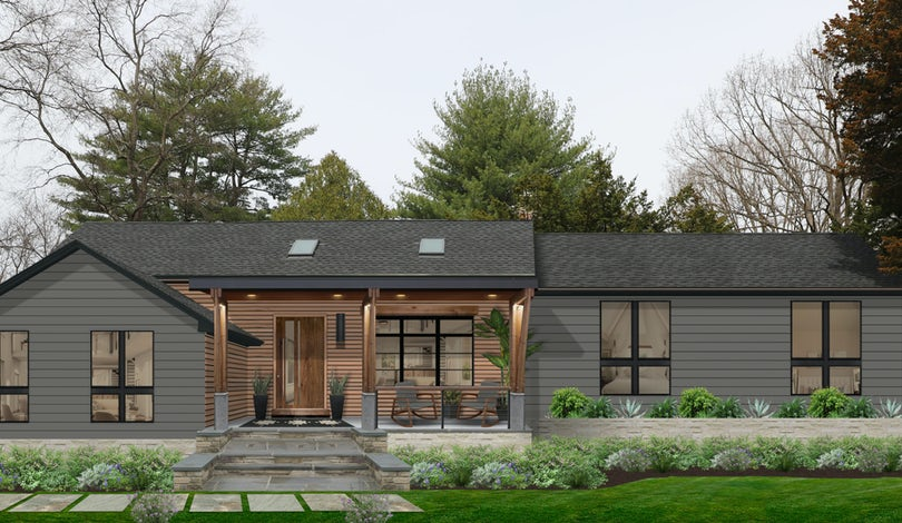 rustic ranch home with wood siding and charcoal siding
