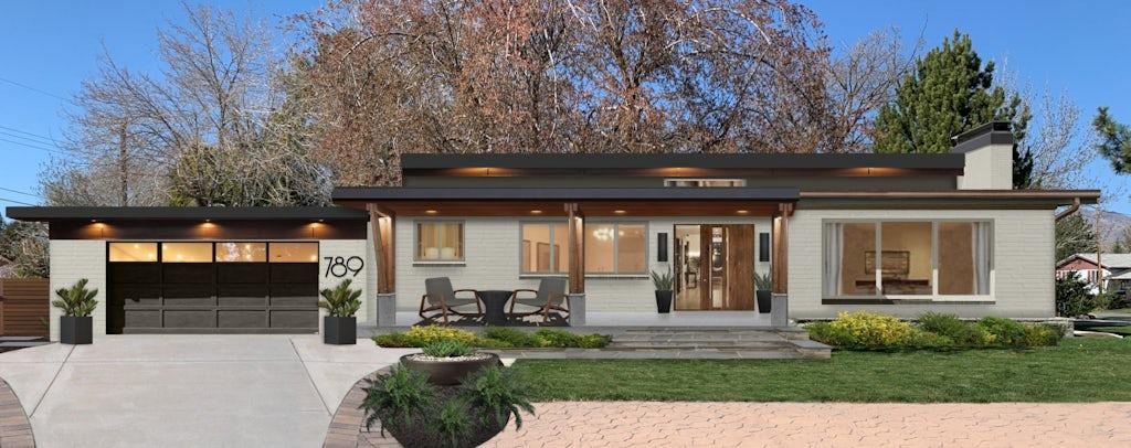 Virtual exterior design of a midcentury modern ranch