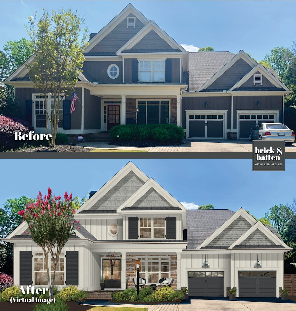 before and after of a traditional two story home painted in seapearl white with sea haze gray accents and black shutters and garage doors