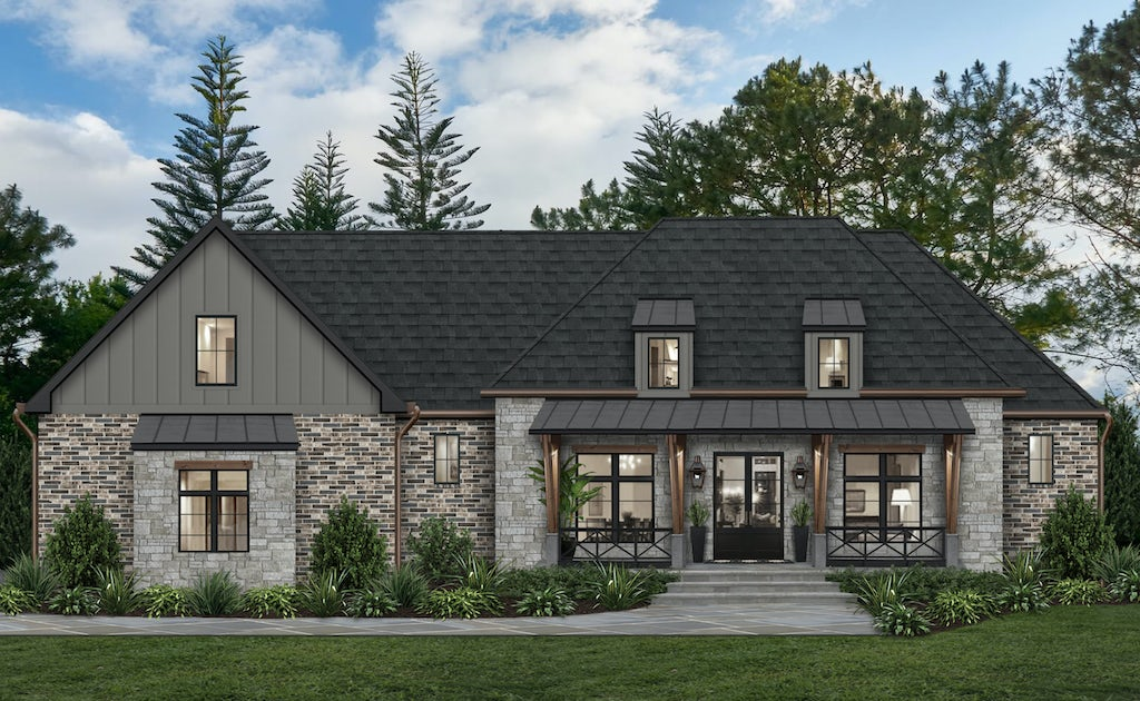 Virtual rendering of a rustic Craftsman-inspired home that makes use of James Hardie siding in Aged Pewter alongside brick and stone