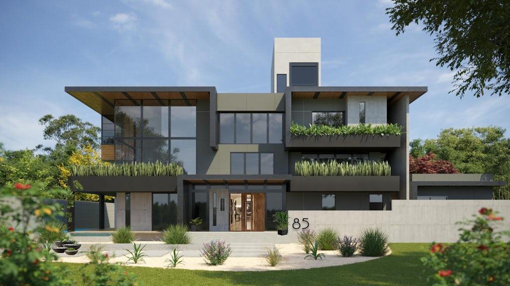 Virtual exterior design of a contemporary modern home