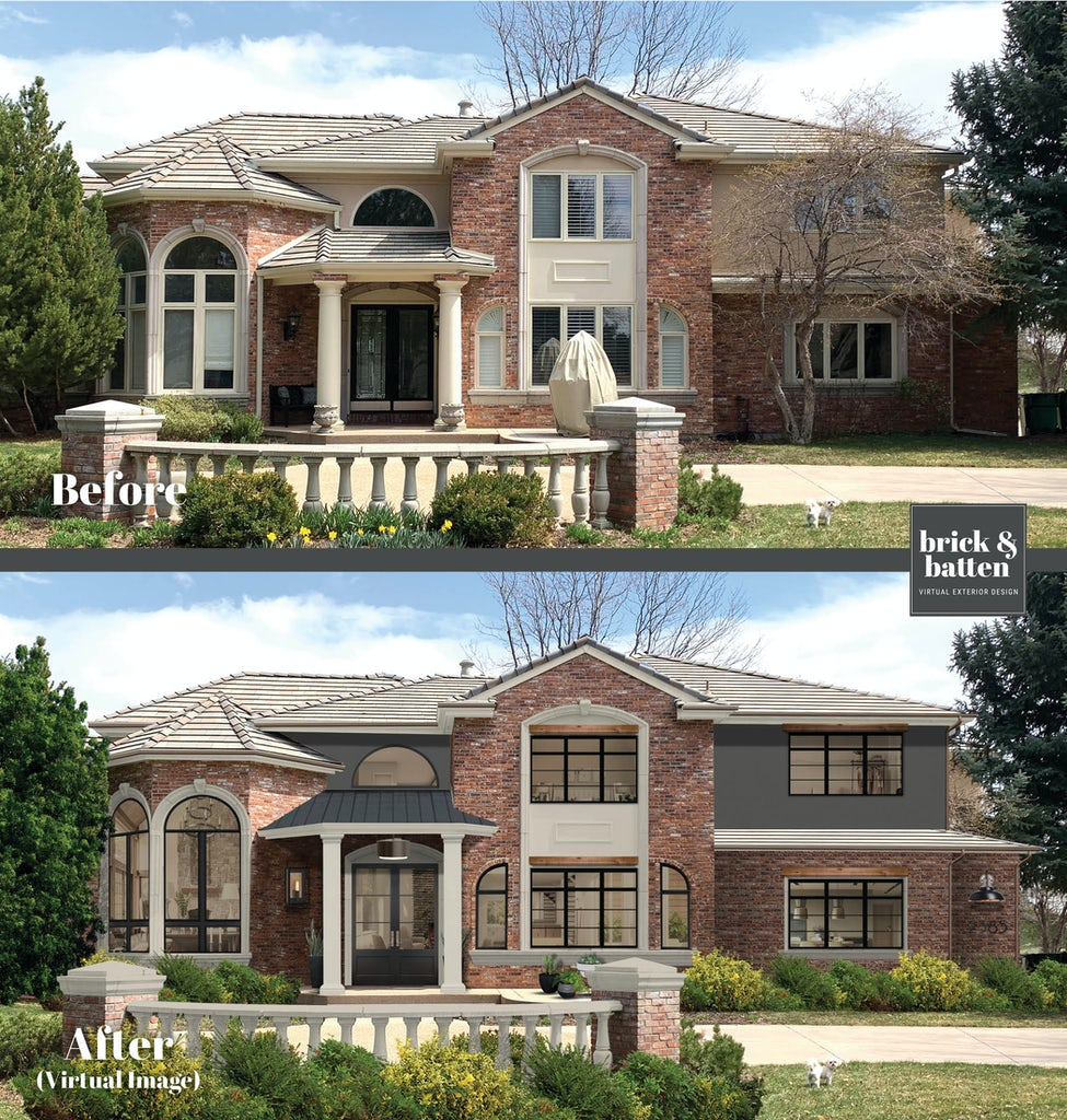 brick home painted with benjamin moore iron mountain