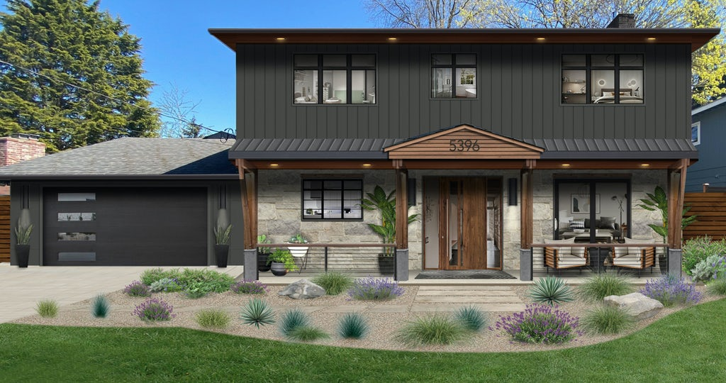 traditional two story home painted in iron mountain by benjamin moore