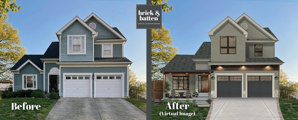 Transitional two-story home with above-the-garage can lighting