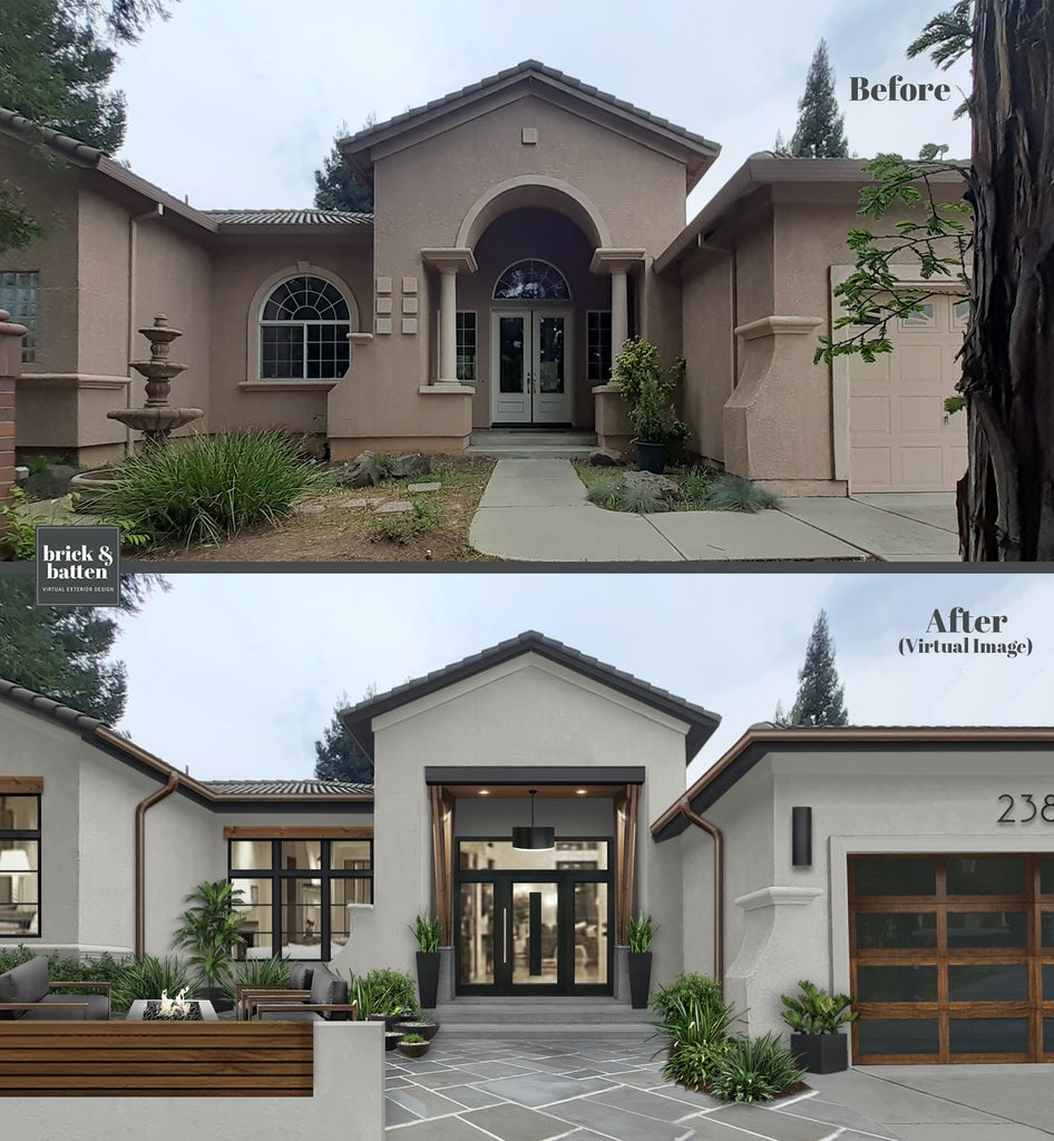 before and after of a spanish style home with tile roof, white stucco and large entryway