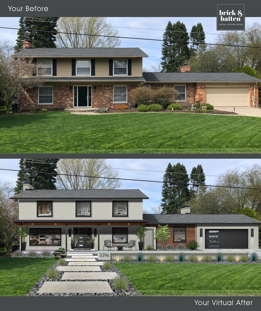 Before and after of a modern transitional home painted in Stone Cutter and Revere Pewter