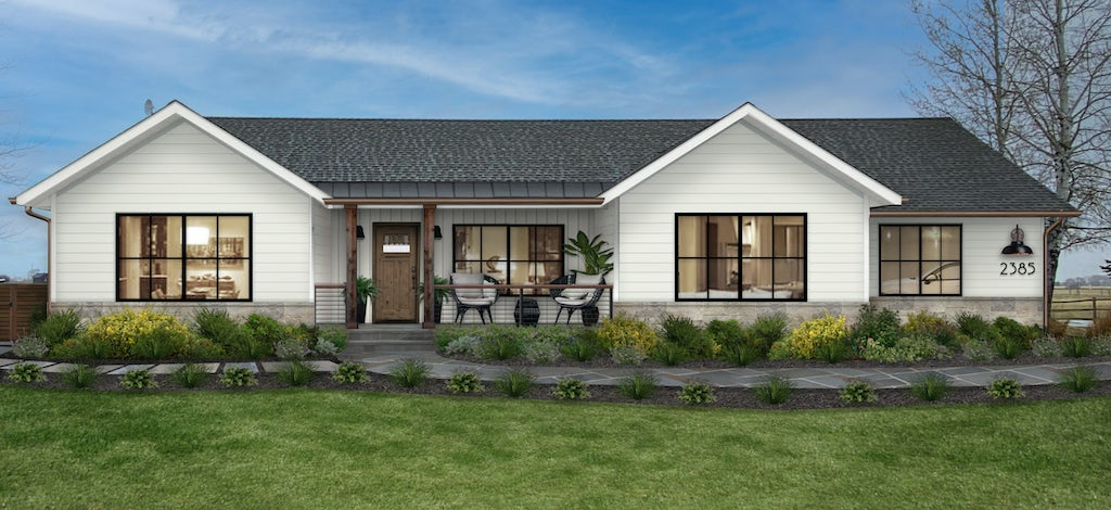 Virtual home exterior design rendering of a modern farmhouse ranch painted in Alabaster