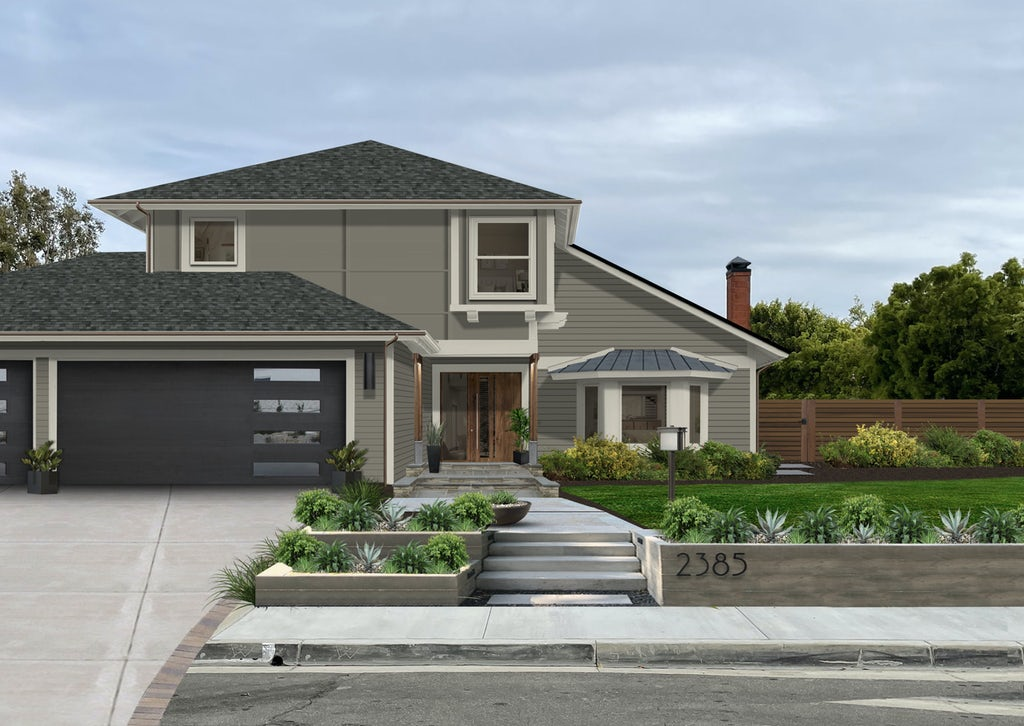 Virtual exterior design of a contemporary home painted in Sherwin Williams' Anonymous with off-white and black accents