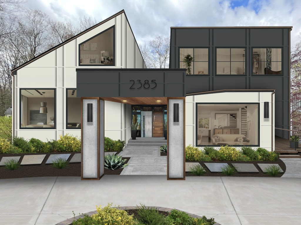 contemporary modern angled house in black and white